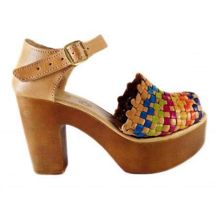 Platform Heels Leather Huaraches, Margot