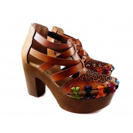Platform Heels Leather Huaraches,  bows