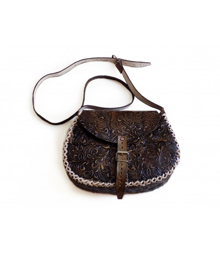 Hand-tooled leather bag - Brown Leather Crossbody Bags