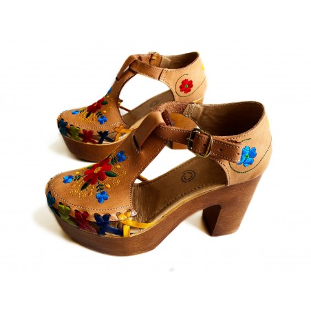 Platform Heels Leather Huaraches, embroidered flower