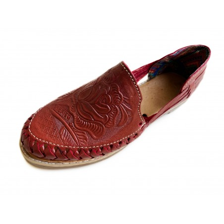 Mexican Huaraches Nikte Vermilion Tooled Leather