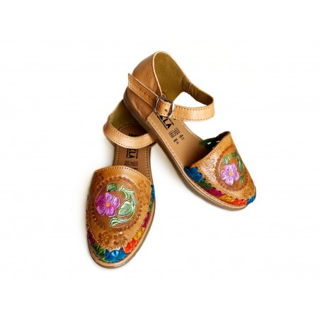 Mexican Huaraches Color Flower Tooled Leather