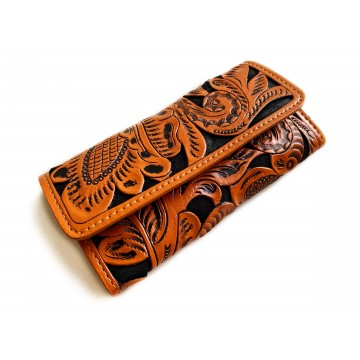 Carved leather wallet Litza