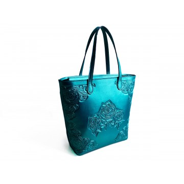 Hand-tooled leather bag,...